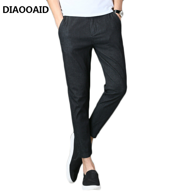 DIAOOAID 2018 Jeans Thin Section Men's Slim Slim Casual Elastic Harem Pants Solid Simple Personality Fashion Male Trousers