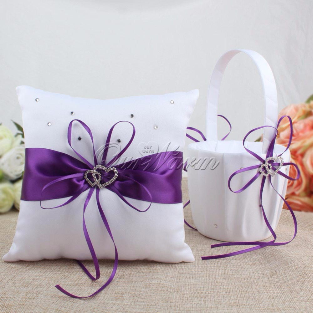 2Pcs set Satin Wedding Party Decoration Product Ring Pillow Flower Basket Home Decor White Color