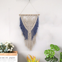 Macrame Wall Hanging Decoration Handmade woven Tapestry Rope Weaving Tassel Blue Wedding Sofa Background Decor boho wall Pendant