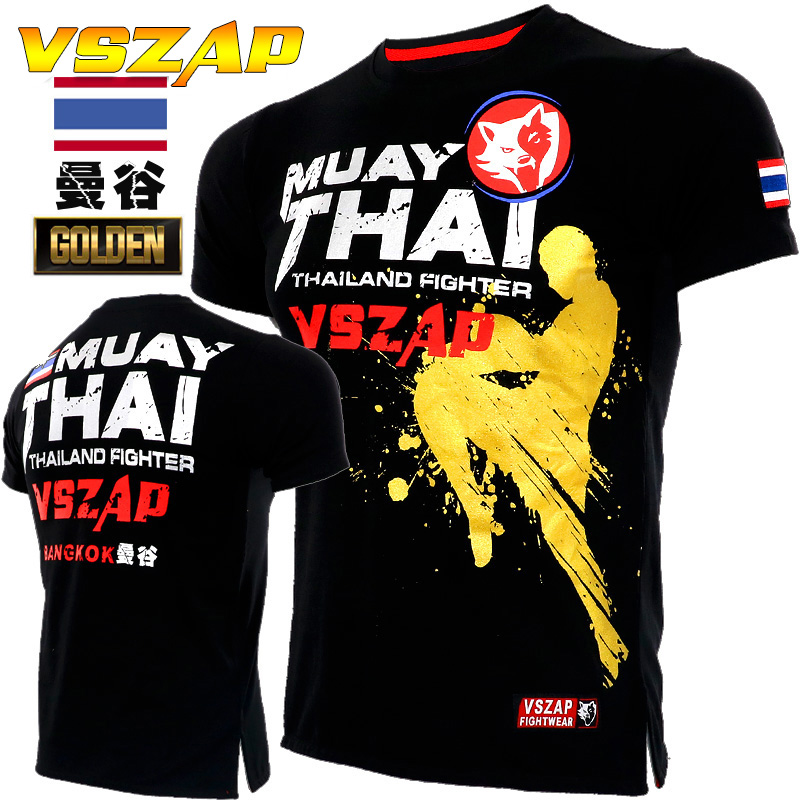 VSZAP Fighting Jersey Sports MMA Short Sleeved T Shirt Wulin Wind Muaythai Broadcast For Fitness Male Muscle Training Clothes