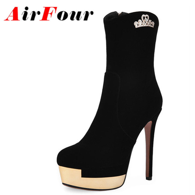 ФОТО Airfour Shoes Woman Zippers High Heels Winter Boots Sexy Black Round Toe Platform Shoes Ankle Boots for Women Motorcycle Boots