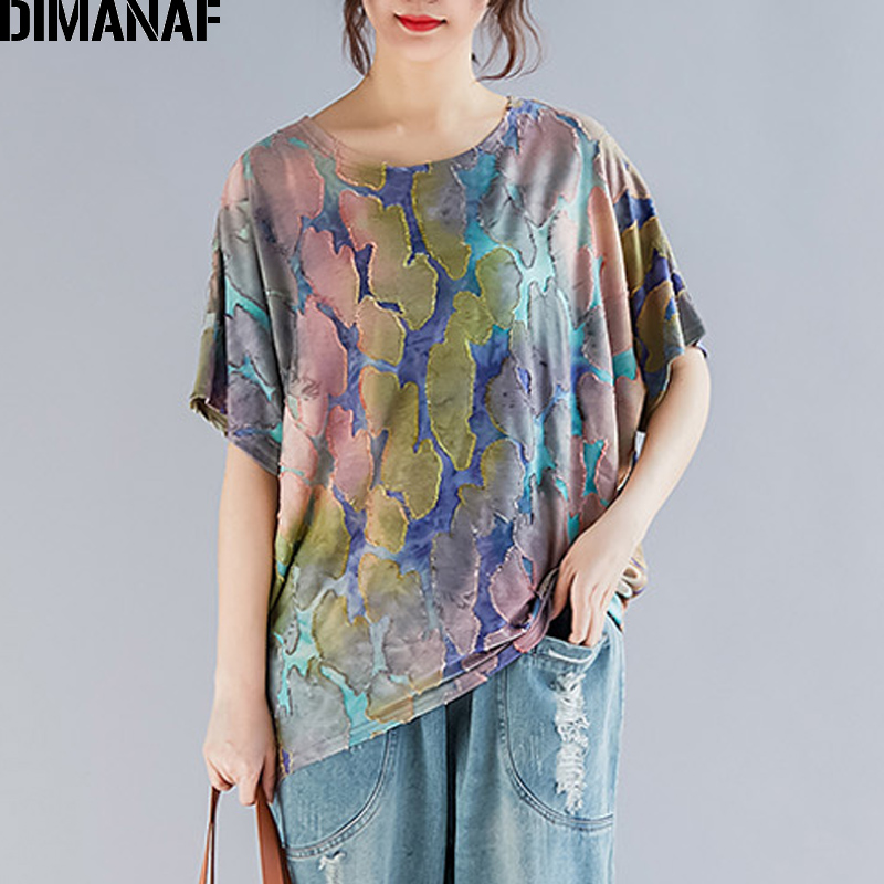 DIMANAF Plus Size Women T-Shirts Basic Lady Tops Tees Vintage Female Clothes Print Patchwork Loose Batwing Shirt 2019 Summer New