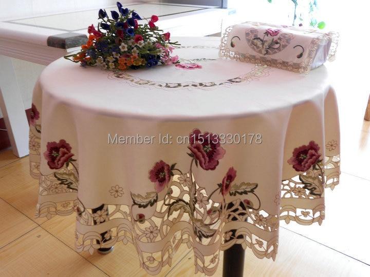 crema mantel bordado mantel fiesta en casa de flores de encaje floral estilo redondez de regalo de navidad