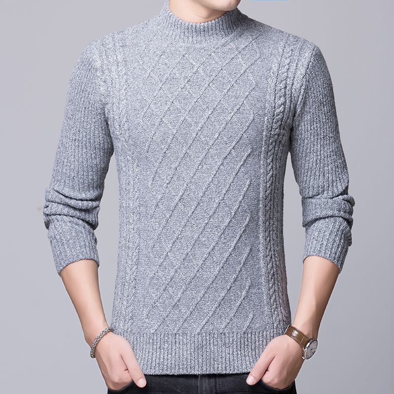 2019 New Fashion Brand Sweater Mens Pullovers Turtleneck Slim Fit Jumpers Knitred Thick Autumn Korean Style Casual Men Clothes