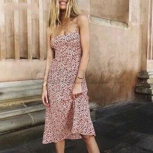 Cuerly 2019 autumn print dress women boho beach strap dress knee length slip dress  L5