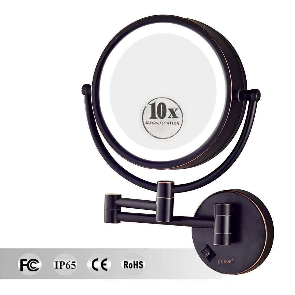 GURUN Wall Mount Bathroom LED Lighted Makeup Mirror with 10X/1X Magnifying Double sided Shaving Mirror Brass Oil-Rubbed Bronze все цены
