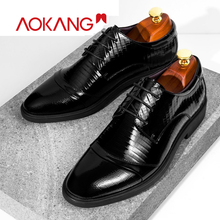 AOKANG 2019 Spring Genuine Leather Dress shoes men high quality fashion derby men shoes oxfords business shoes men