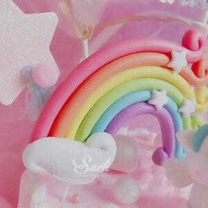 Image 2 - Fatura Unicorn gökkuşağı yıldız Pom Pom püskül kek Topper tatlı dekorasyon doğum günü partisi için güzel hediyeler