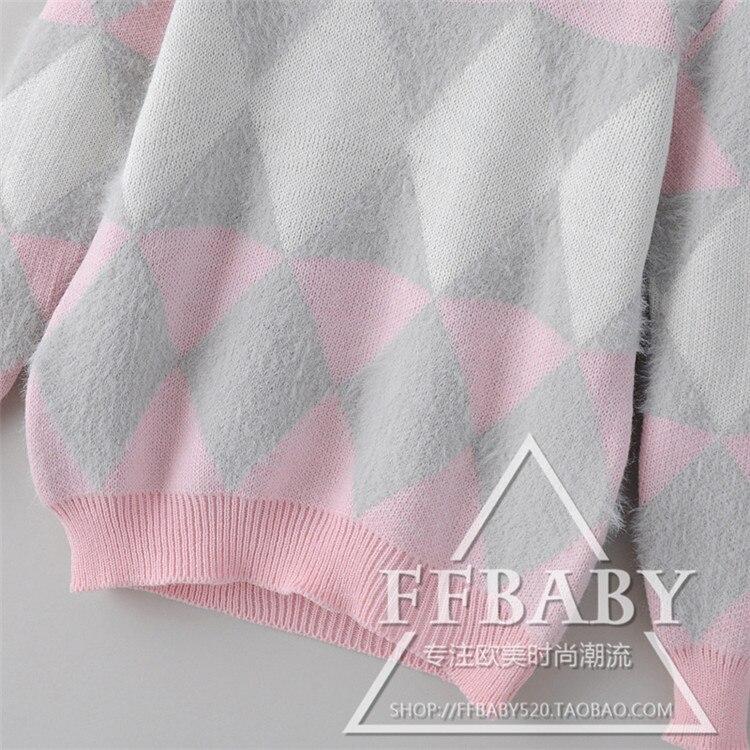 Chandail 2016 Automne Treillis Confortable Shirtcardigan Droite À pink Sky Jacquard Femme Blue Printemps Tricot Longues Femelle Couleur Manches Pull Nouvelle wEqBIx78