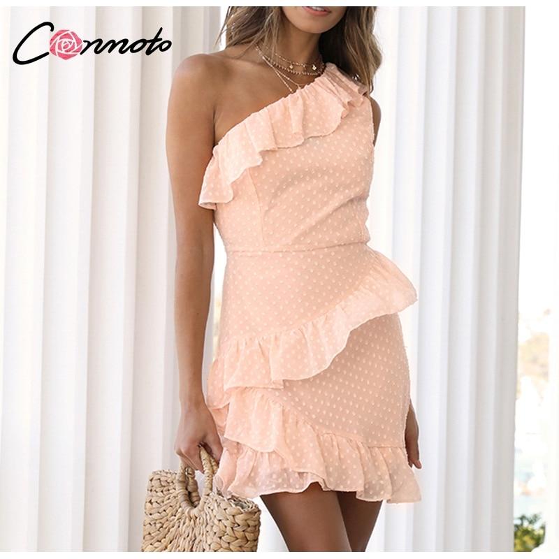 Conmoto Casual Polka Dot Short Party Dress Girls 19 Summer NEW One-Shoulder Sleeveless Ruffle Chiffon Dress Women Vestidos 6