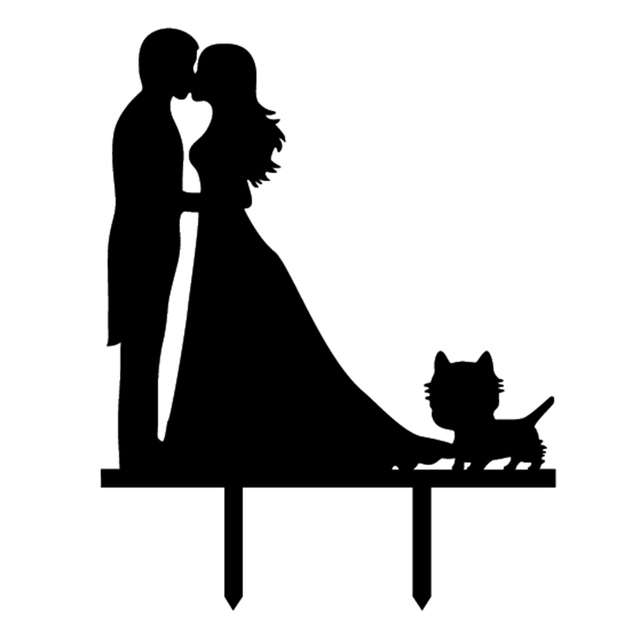 Wedding Bride Groom With Cat Cake Flag Toppers Black White Shiny