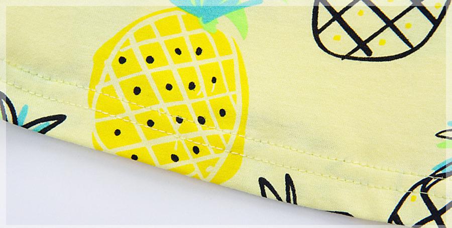 little maven 1-6year cotton party dresses yellow print pineapple little girls dresses o-neck girls dress for children clothing 11