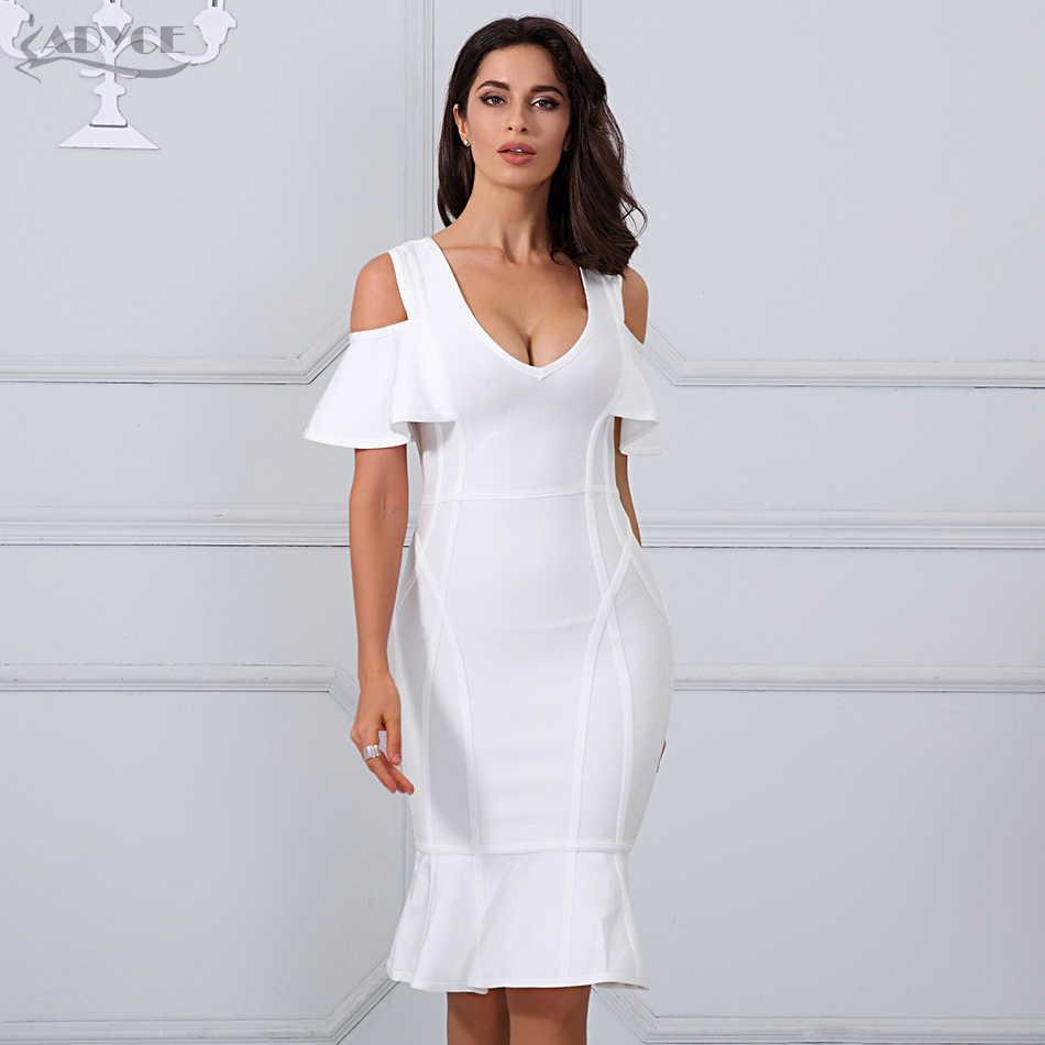 c580d0ebdcb Adyce 2019 новое летнее женское Бандажное платье Белый v-образный вырез с  коротким рукавом Vestido