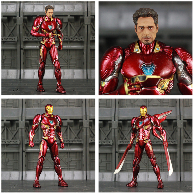 Iron Man Action Figure Mark 50 Version 2 with Infinity Gauntled 6inch 5