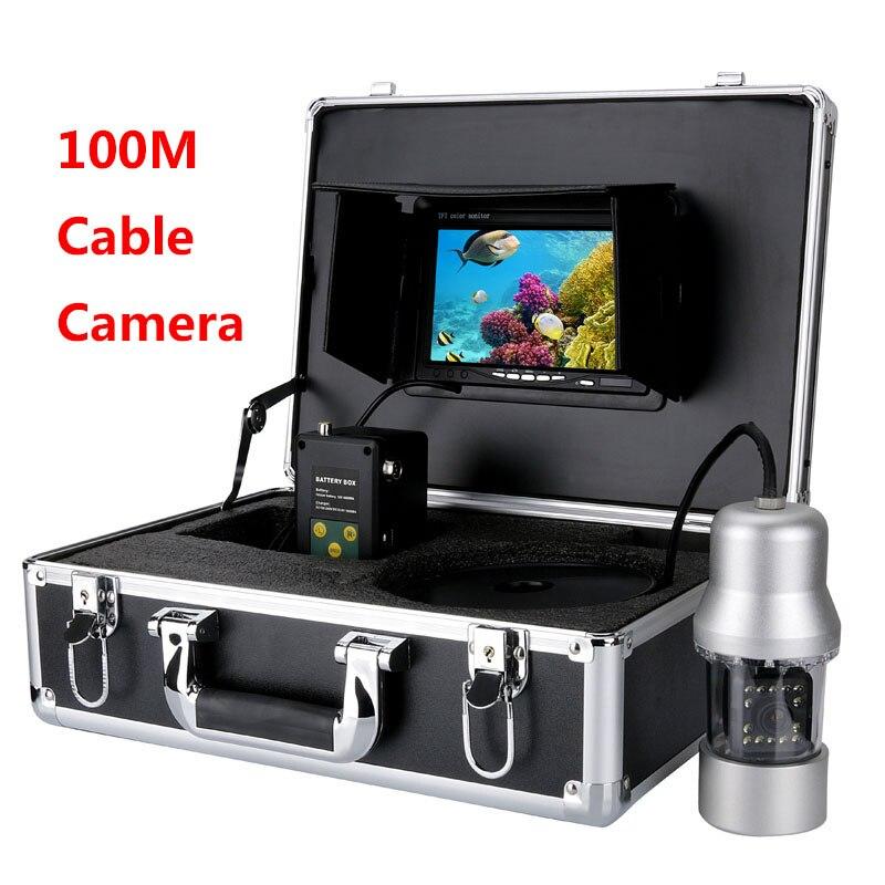 MAOTEWANG 20 m 50 m 100 m Cavo Fotocamera Fish Finder 1000TVL Subacquea pesca Fotocamera 6 W Led 360 Gradi di Rotazione 7 Pollice LCD Monitor