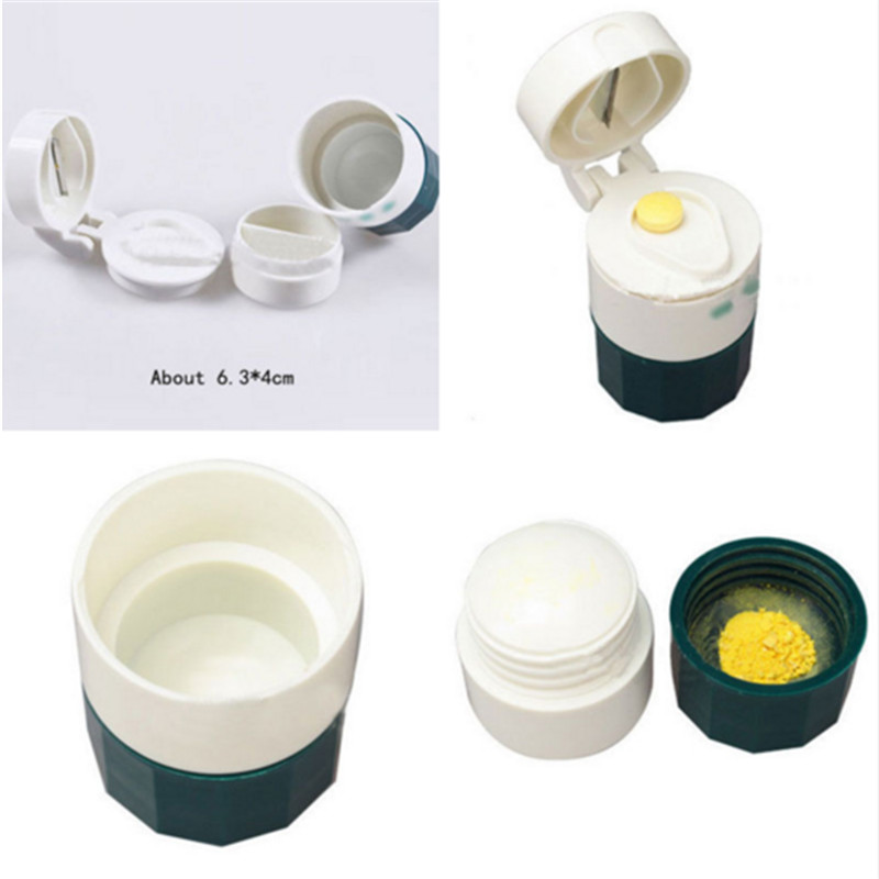 2e6eea700b4d US $1.56 30% OFF| High Quality 1Pc Health Tool Set for 4 Layer Pill  Medicine Crusher Grinder Splitter Tablet Divider Cutter Storage Box  Wholesale-in ...