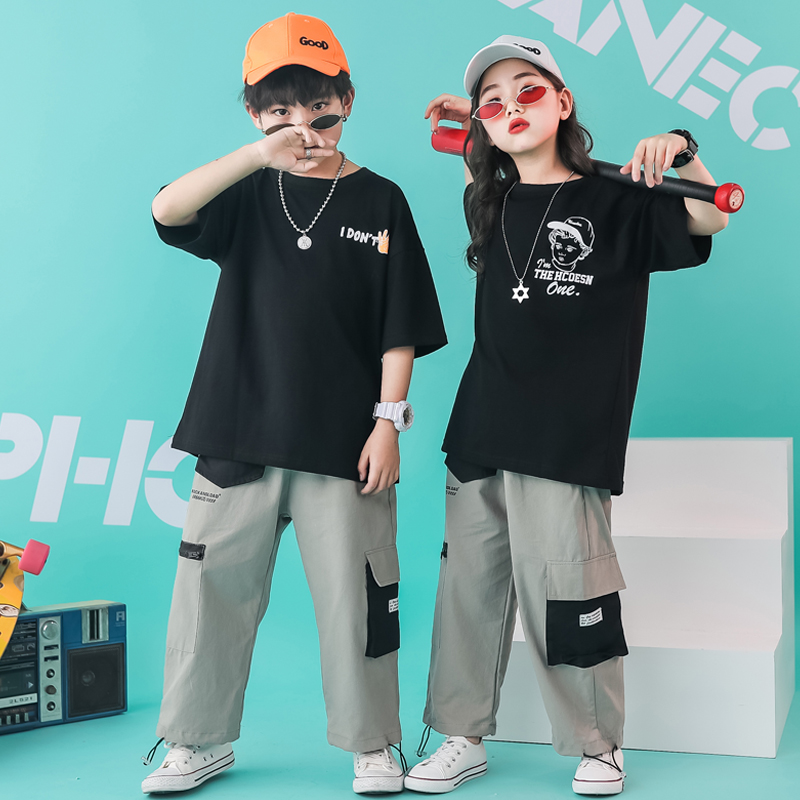 Kids Hip Hop Clothing Oversized Running T Shirt Tops Casual Pants Girls Boys Dance Costumes Outfit Wear Ballroom Dancing Clothes
