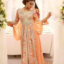 Popular Kaftan Caftan Islamic Abaya in Dubai Evening Dresses Long Sleeves Appliques Beads Formal Party Dresses Evening Gowns