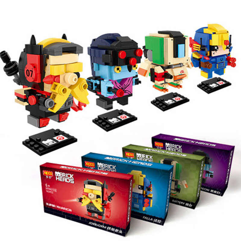 figure Brickheadz D.Va Reinhardt Bastion black widow battery falla jorbjorm Building Block Bricks Toys with