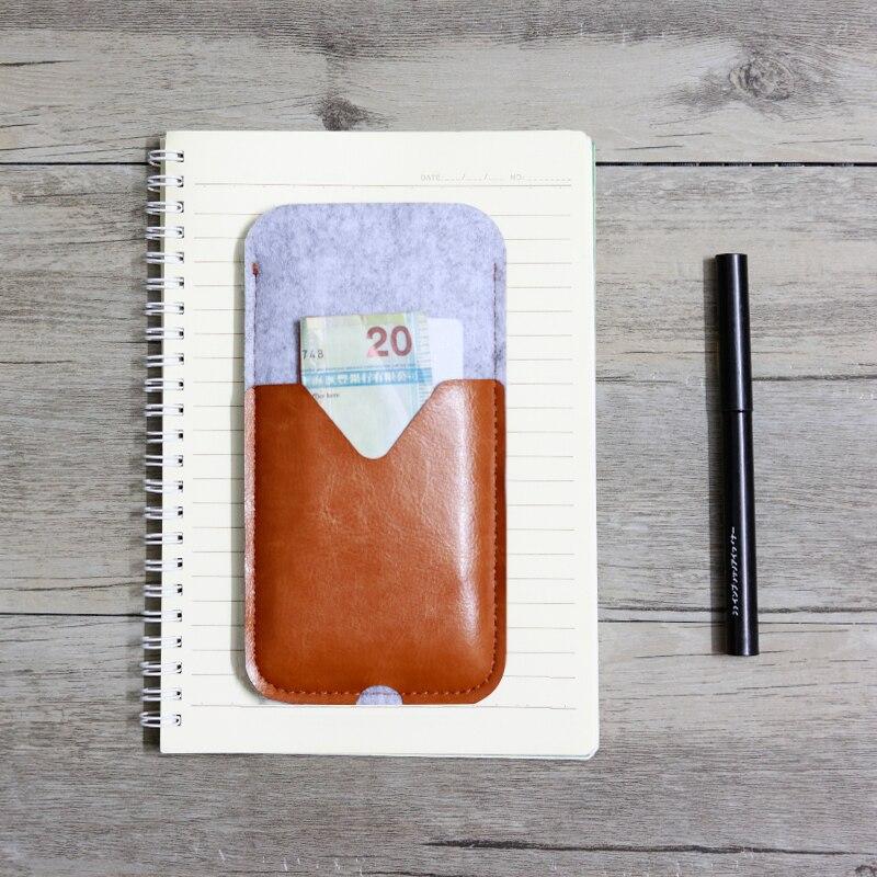 imágenes para SYHBAN-Fieltro de Lana Bolsas de Caso para el iphone 6 6 S 7 Más Caso 2 en 1 Bolsas de Titular de la Tarjeta Soporte de la Cubierta de Cuero para Samsung S7S6 NOTA 3 4 5