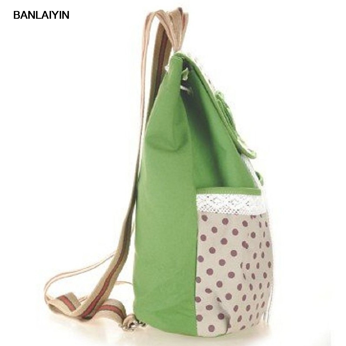 WholeTide 10* Girls Bowknot Canvas Backpack For Student (Green)WholeTide 10* Girls Bowknot Canvas Backpack For Student (Green)