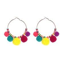 Ethnic Jewelry Bohemian Multicolor Tassel Earrings Women Vintage Ball Shape Drop Earrings Pendientes Female Brincos Charm Bijoux