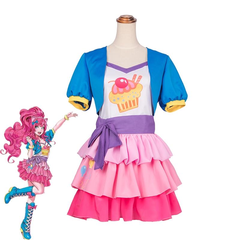 Anime mon petit poney Pinkie Pie Cosplay Costume filles mignon robe manteau + haut + jupe Halloween carnaval uniformes sur mesure