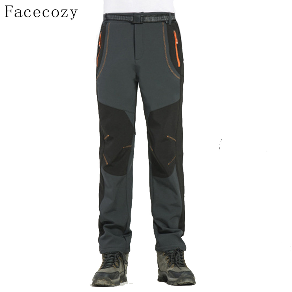 Facecozy Men Hiking & Camping pants Male Winter Fleece Outdoor Fishing Trekking Pants Softshell Trousers for Fishing Climbing