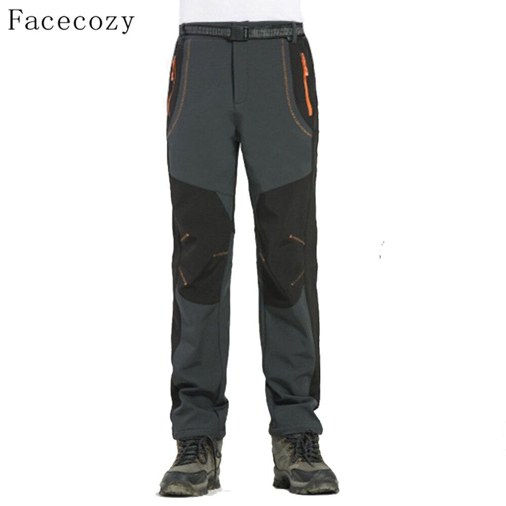 Facecozy hombres senderismo y Camping pantalones invierno Fleece al aire libre pesca Trekking Softshell pantalones de pesca escalada
