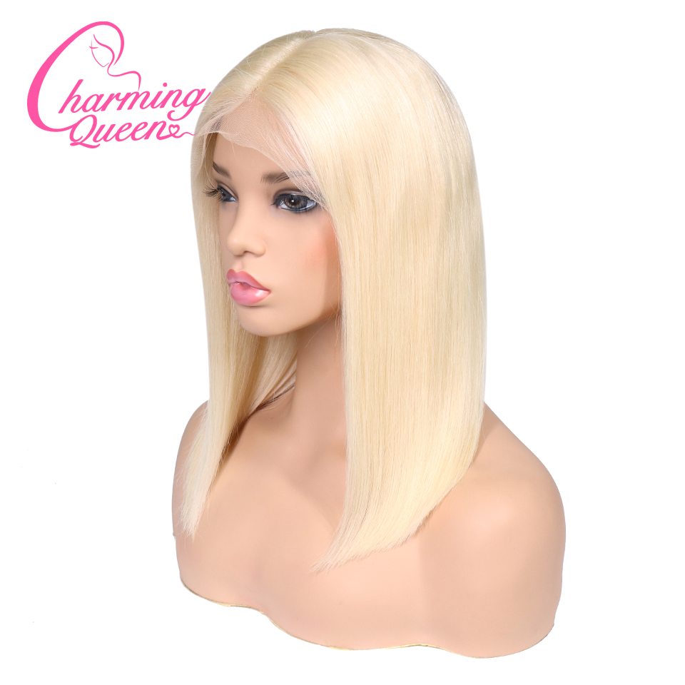 613 Blonde Bob Wig Transparent Lace Wigs Pre Plucked Lace Front Human Hair Wigs Straight Brazilian