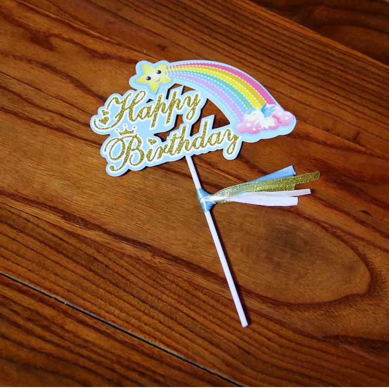Rainbow Cake Toppers Cloud Cake Flags Birthday Kids Favors Cake Decoration Cupcake Toppers for Wedding Dessert Table Decoration in Cake Decorating Supplies from Home Garden