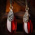 925 Sterling Silver jewelry mulheres semi-pedras preciosas Granada Naturais Brincos de ágata verde vermelho Senhora presente namorada