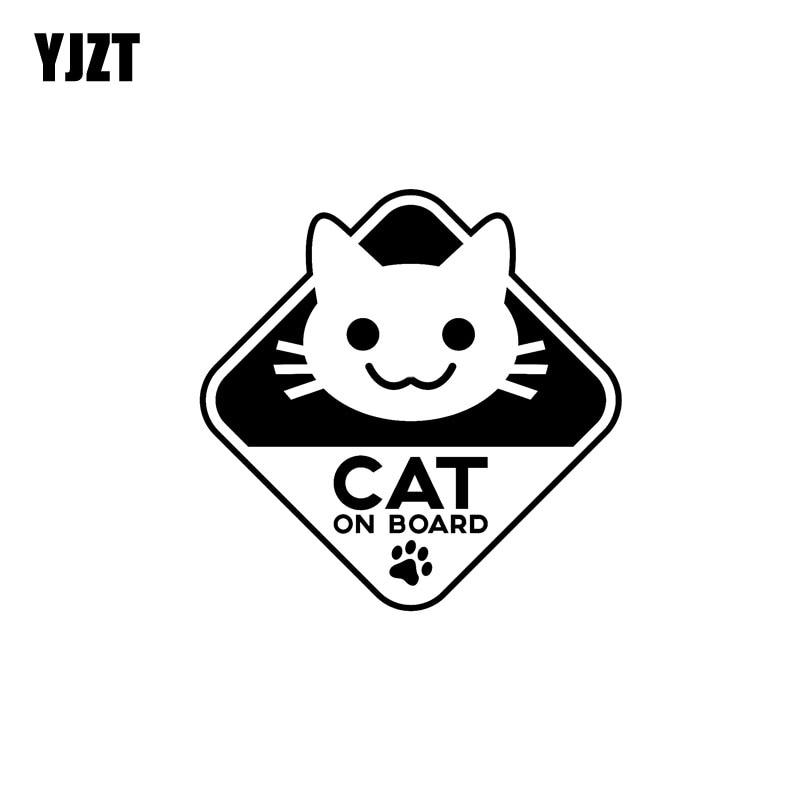 YJZT 16CM*16CM Funny Vinyl Sticker Car Decal CAT ON BOARD Black/Silver C10-00783