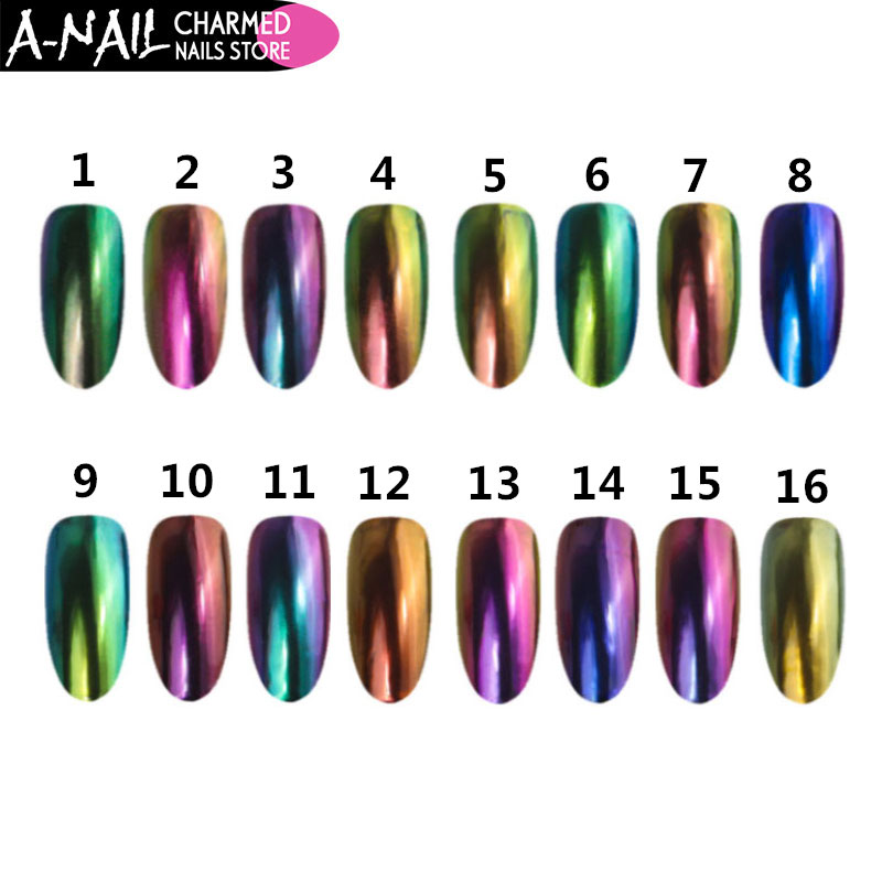 NEWBY 16 boxes/set Chameleon Mirror Glitter Powder Chrome Effect UV Gel Nail Polish Dust Pigment Manicure Nail Art Decoration лак для ногтей pupa golden dust special effect nail polish red queen 2017 collection цвет 001 golden dust variant hex name b3986d
