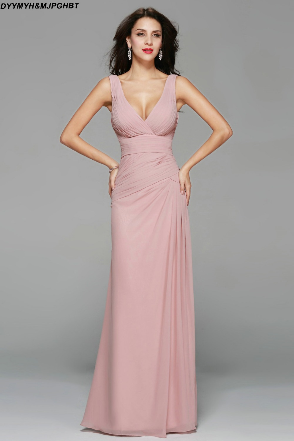 Simple and Elegant Pink Bridesmaid Dresses Long V Neck with Two ...