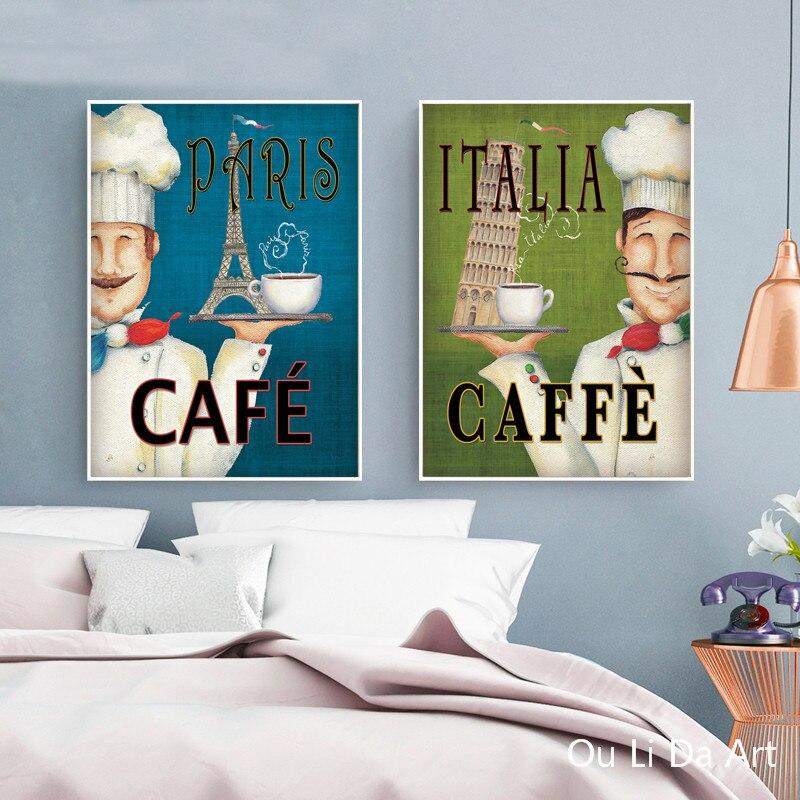 Frameless Modern Cartoon Chefs Canvas Prints Restaurant: Aliexpress.com : Buy No Frame Cartoon Happy Chef Landscape