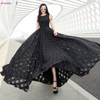 Hanzangl 2017 נשים קיץ dress שמלה קיצית ללא שרוולים אורגנזה vintage לונג ביץ 'מקסי dress vestidos femininos שחור/לבן/ורוד