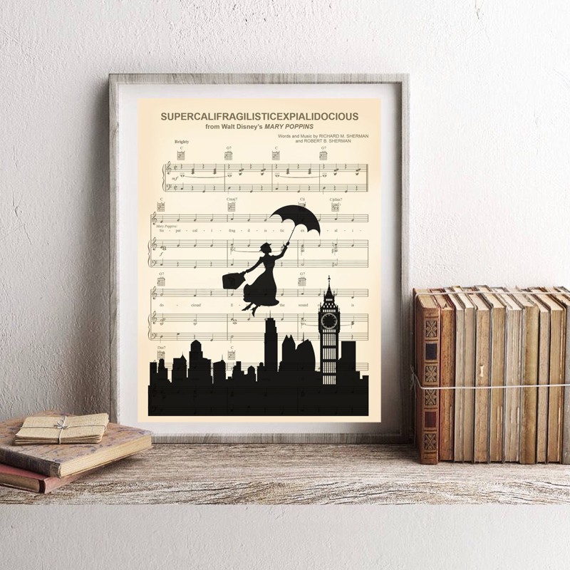 Happy Man Silhouette Supercalifragilisticexpialidocious Sheet Music Wall Art Print Canvas Painting Pictures for Living Room