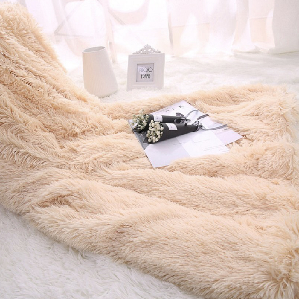 faux fur blanket soft fluffy sherpa throw blankets for beds cover shaggy bedspread plaid. Black Bedroom Furniture Sets. Home Design Ideas