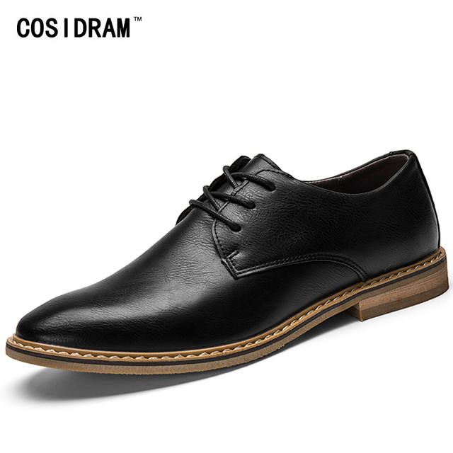 COSIDRAM Pointed Toe PU Leather Men Oxford Shoes For Men Shoes Spring Autumn Fashion Men Casual Shoes Male Footwear RMC-150