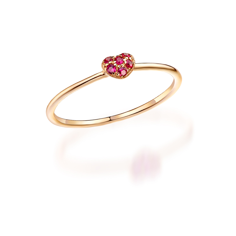 JXXGS Simple Beautiful 14K Gold Ring Heart Shape Red Corundum Ring For Women