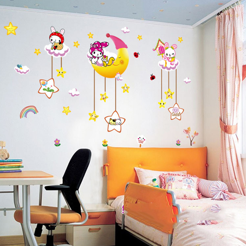Diy Cartoon Animal Star Moon Tree Vinyl Wall Sticker For Kids Room Living Flowers Home Decor Decal Adesivo Wallpaper In Stickers From