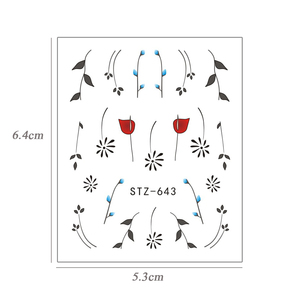 Image 5 - 1pcs Nail Art Sticker Water Transfer Decals Simple Dotting Flower Manicure Sliders Nail Art Decoration Watermark Wraps BESTZ643