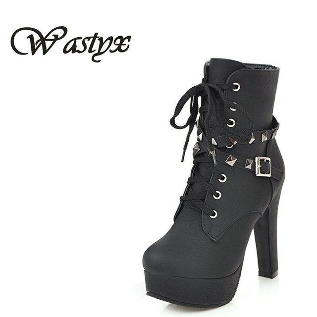8eca0e039e9a Wastyx 2017 New Winter Women Black High Heel Martin Boots Buckle Gothic  Punk Ankle Motorcycle Combat Boots Shoes Free Shipping