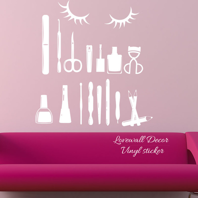 Nail Art Design Tools Wall Sticker Manicure Polish Varnish Salon Wall Decal  Girl Home Spa Cosmetic