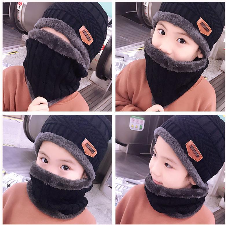 Neck warmer knit ski cap scarf cold warm fur lining winter hat for Kids Boys and girls Knitted velvet   skullies     beanies   Bonnet