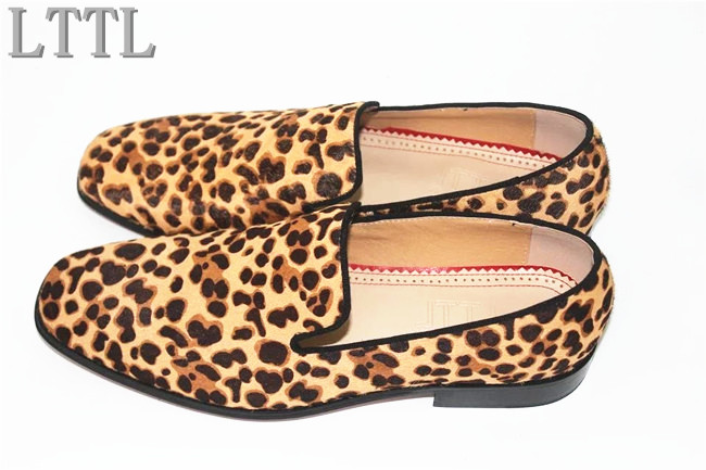 Autumn Summer Leopard Print Men Flats Handmade High Quality Loafers Men's Dress Shoes For Party LTTL Men Shoes