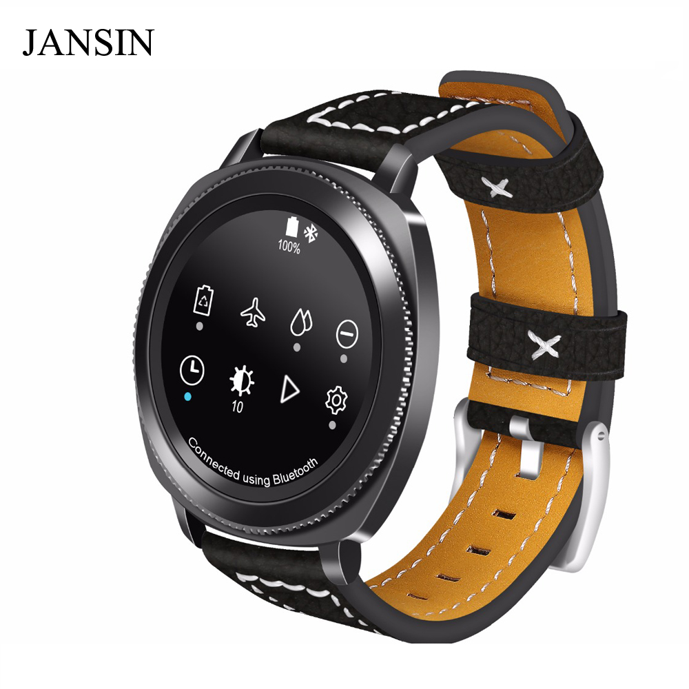 JANSIN 20mm Universal Luxury Genuine Leather Strap for Samsung Gear sport/Gear S2 band cow leather sports Bracelet Wristband jansin 22mm watchband for garmin fenix 5 easy fit silicone replacement band sports silicone wristband for forerunner 935 gps