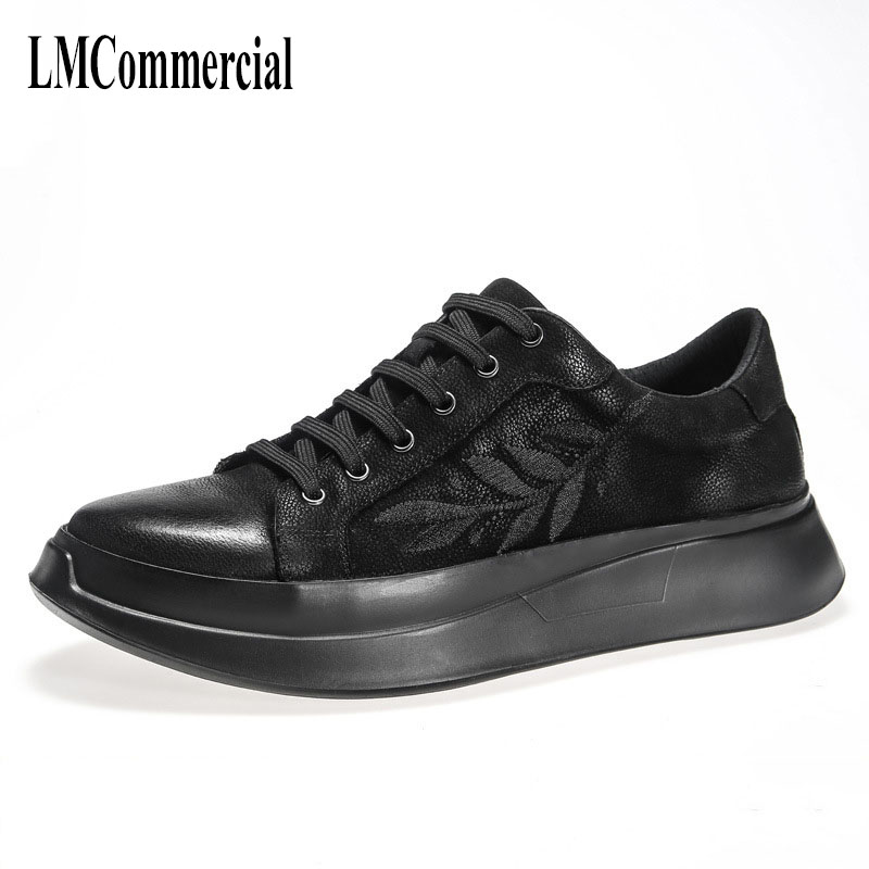 Men black real leather shoes men's casual shoes men spring and autumn summer all-match cowhide  breathable sneaker Leisure male new 2017 men s genuine leather casual shoes korean fashion style breathable male shoes men spring autumn slip on low top loafers