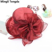 Mingli Tengda Свадебная шляпка роза/красная Свадебная шляпка s для женщин Элегантная вуаль для невесты большой бант шляпы для свадеб